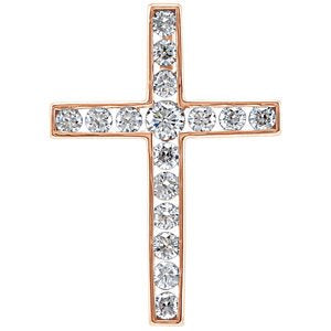 Diamond Coticed Cross 14k Rose Gold Pendant (.75 Ctw, G-H Color, I1 Clarity)