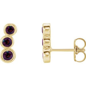 Mozambique Garnet Three-Stone Ear Climbers, 14k Yellow Gold
