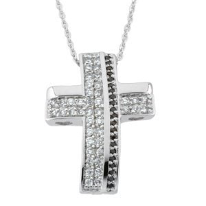 Sterling Silver 'Beauty From Ashes' White and Black Crystals Cross Pendant Necklace 18""