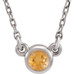 Citrine Solitaire Rhodium Plate 14k White Gold Pendant Necklace, 16""
