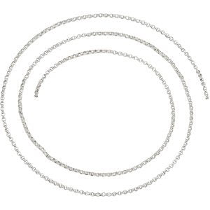 Solid Rolo Chain 1.5mm Rhodium-Plated Sterling Silver, 16""