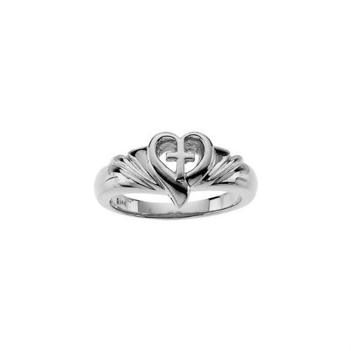 Sterling Silver Heart and Cross Ring, Size 6 to 7