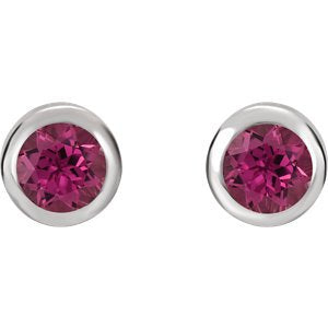 Simulated October Birthstone CZ Solitaire Stud Earrings, Rhodium-Plated Sterling Silver