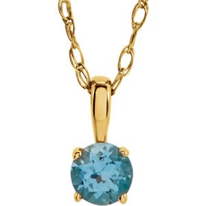 Children's Swiss Blue Topaz Birthstone 14k Yellow Gold Pendant Necklace, 14""