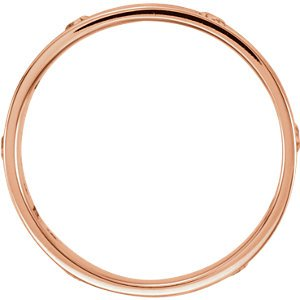 14k Rose Gold Pierced Cross Bead-Blast Band, Size 7.5
