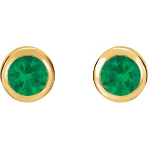 May Birthstone Stud Earrings, 14k Yellow Gold