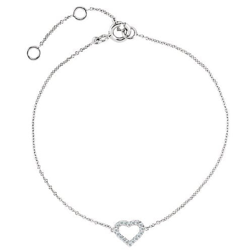 "14k White Gold Diamond Open Heart Bracelet, 7"" (.06 Cttw., HI Color, I1 Clarity)"
