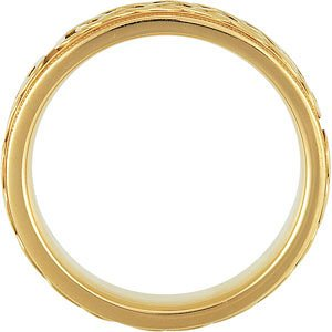 7mm 14k Yellow Gold Celtic Infinity Circle Comfort Fit Milgrain Band, Sizes 5 to 12.5