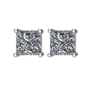 2 Ct 14k White Gold Princess Cut Diamond Stud Earrings (2.00 Cttw, GH Color, SI2-SI3 Clarity)