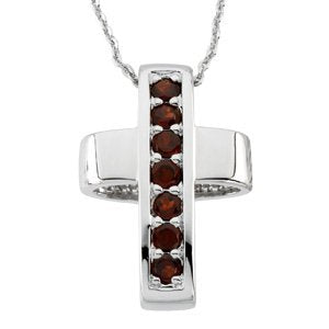 Sterling Silver Garnet Reversible Healing Cross Pendant Necklace, 18""