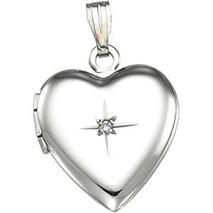 Sterling Silver Diamond Heart Locket, (.01 Ct, GH Color, I1 Clarity)