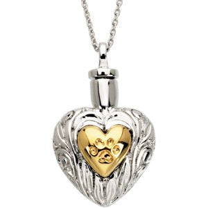 Sterling Silver and 14k Yellow Gold Plate Pet Ash Holder Heart Necklace with Paw Print, 18""