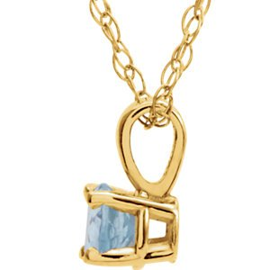 Children's Aquamarine Birthstone 14k Yellow Gold Pendant Necklace, 14""
