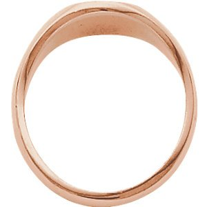 Men's Closed Back Brushed Oval Signet Semi-Polished 18k Rose Gold Ring (13.25x10.75mm), Size 11