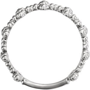 Beaded Cross Ring, Rhodium-Plated 14k White Gold, Size 7.5