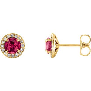 Ruby and Diamond Halo-Style Earrings, 14k Yellow Gold (3.5 MM) (.125 Ctw, G-H Color, I1 Clarity)