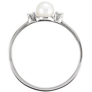 White Akoya Cultured Pearl and Diamond Ring, Rhodium-Plated 14k White Gold (4.50mm) (.04Ctw, G-H Color, I1 Clarity) Size 4