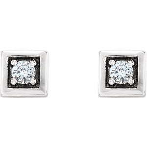 Diamond Square Earrings, Rhodium-Plated 14k White Gold (.125 Ctw,GH Color, I1 Clarity)