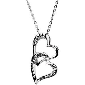 Sterling Silver Double Heart for Sisters Reversible Necklace, 18""