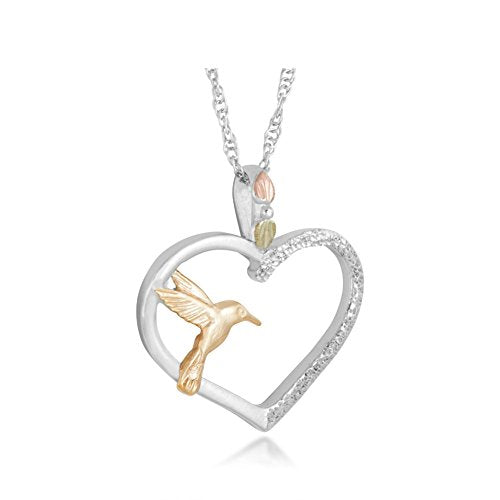 Heart Hummingbird Necklace, Sterling Silver, 10k Yellow Gold, 12k Green, Rose Gold Black Hills Gold, 18""