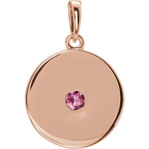 Round Pink Tourmaline Disc Pendant, 14k Rose Gold