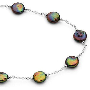 Black Freshwater Cultured Coin Pearl Station Sterling Silver Necklace, 38'' (12-13MM)