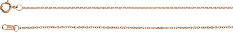 14k Rose Gold 1mm Solid Cable Chain Necklace, 16""