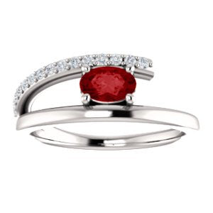 Platinum Chatham Created Ruby and Diamond Bypass Ring (.125 Ctw, G-H Color, S12-S13 Clarity)