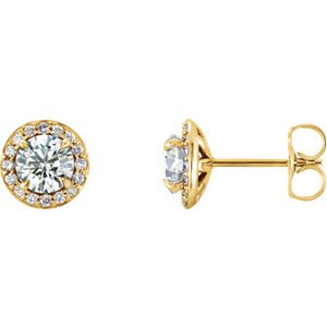 White Sapphire and Diamond Halo-Style Earrings, 14k Yellow Gold (4MM) (.125 Ctw, G-H Color, I1 Clarity)