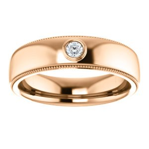 Men's 14k Rose Gold Diamond 6mm Milgrain Band (.06 Ctw, Color G-H, SI2-SI3 Clarity) Size 10