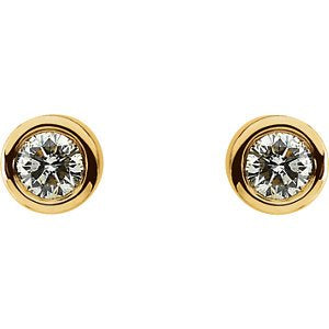 Diamond Stud Bezel Earrings, 14k Yellow Gold (1 Cttw, Color GH, Clarity I1)