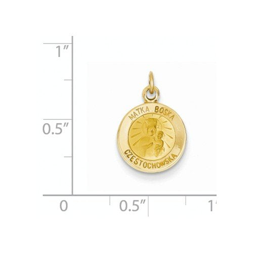 14k Yellow Gold Matka Boska Medal Charm (17X12MM)