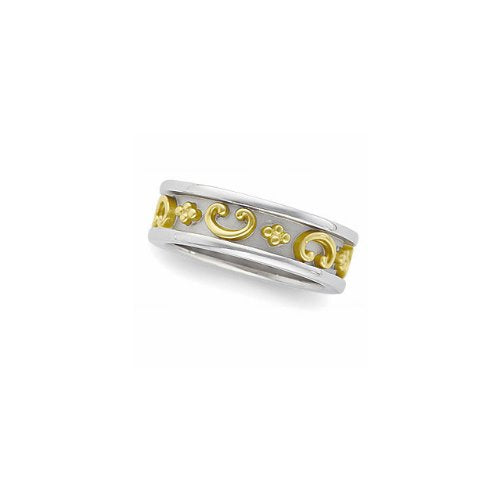 7mm 14k White Gold Etruscan Inspired Inlaid 14k Yellow Gold Scroll Band, Size 4, 5, 5.5, 6, 6.5, 7, 7.5, 8, 8.5