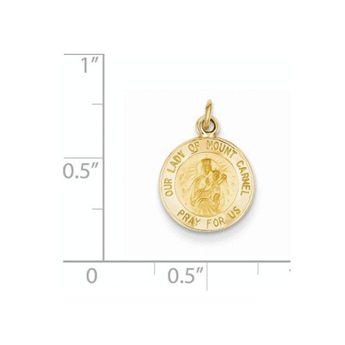 14k Yellow Gold Our Lady Of Mt. Carmel Medal Charm (17X12MM)