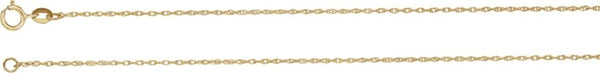 1 mm 14k Yellow Gold Solid Rope Chain, 7""