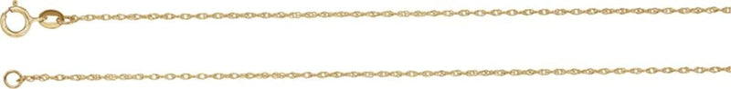 1 mm 18k Yellow Gold Solid Rope Chain, 24""