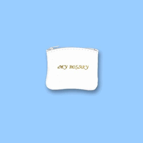 White Leather Rosary Case Zippered, 4""