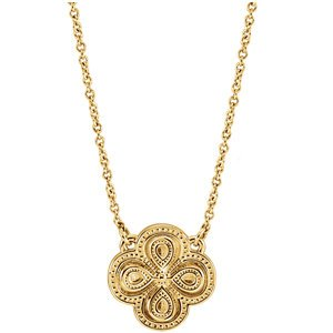 Fashion Clover Necklace in 14k Yellow Gold, 18""