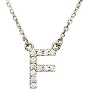 "14k White Gold Diamond Alphabet Letter F Necklace (1/6 Cttw, GH Color, l1 Clarity), 16.25"" to 18.50"""