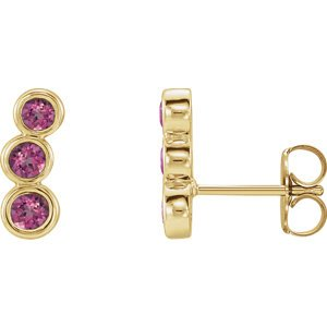 Pink Tourmaline Three-Stone Ear Climbers, 14k Yellow Gold