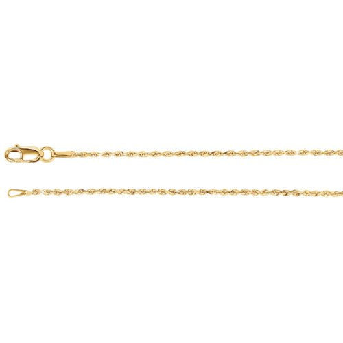 1.3mm14k Yellow Gold Diamond Cut Rope Chain Bracelet, 7""