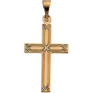 Childrens 14k White Gold Christian Cross with Embossed Passion Cross Pendant