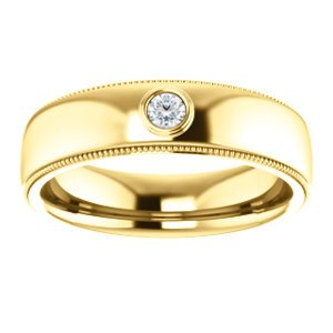 Men's 14k Yellow Gold Diamond 6mm Milgrain Band (.03 Ctw, Color G-H, SI2-SI3 Clarity) Size 11.25