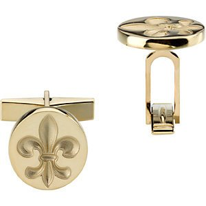 10k Yellow Gold Fleur De Lis Round Cuff Links, 14.75MM