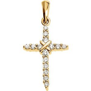 Small Diamond Rope Cross 14k Yellow Gold Pendant (.225 Cttw, GH Color, SI1 Clarity)
