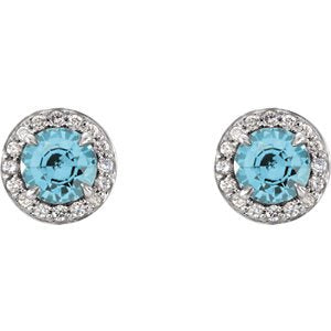 Blue-Zircon and Diamond Halo-Style Earrings, Rhodium-Plated 14k White Gold (5 MM) (.16 Ctw, G-H Color, I1 Clarity)