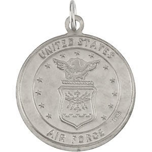US Air Force Sterling Silver St Christopher Protect Us Medal Necklace, 18""