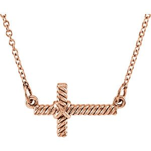 "Rope-Trim Sideways Cross Necklace, 14k Rose Gold, 16.5"" (8.65x16MM)"