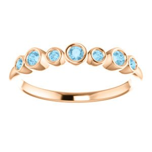 Aquamarine 7-Stone 3.25mm Ring, 14k Rose Gold