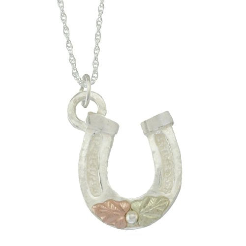 Horseshoe Pendant Necklace, Sterling Silver, 12k Green and Rose Gold Black Hills Gold Motif, 18''